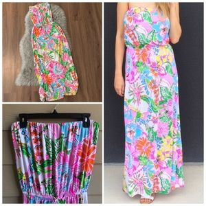 Lilly Pulitzer Colorful Strapless Maci Dress | L
